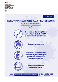 Affiche rentrée 2020 - Recommandations aux professeurs école primaire