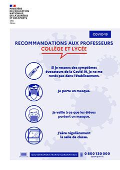 Affiche rentrée 2020 - Recommandations aux professeurs collège et lycée