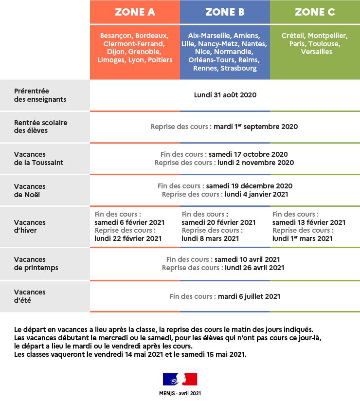 Calendrier Vacances Scolaires 2022 Zone C Calendrier scolaire | Ministère de l'Education nationale et de la